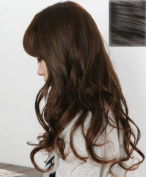 Silver J Wavy hair clip in extension, beautiful synthetic hair, dark brown, DIY style 14 pieces. 46cm