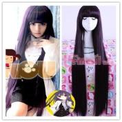 100cm Long Dark Purple Shirakiin Ririchiyo Straight Cosplay Party Wig Rw140