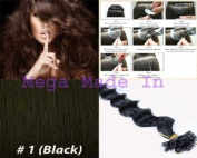 New 25 Strands Deep Wave Curly Pre Bonded U Nail Tip Fusion Remy Human Hair Extensions 60cm Inches #1 Jet Black