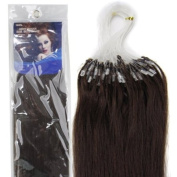 60cm Loop Micro Ring Beads Tipped Remy Human Hair Extensions 100s 02 Dark Brown for Women's Beauty Hairsalon in Fashion