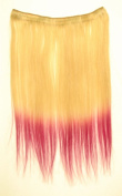 41cm ~46cm Blonde and Hot Pink 100% Remy Human Hair Clip in Extension