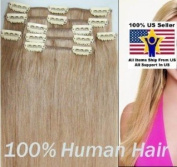 Full Head 41cm 100% REMY Human Hair Extensions 7Pcs Clip in #27 Strawberry Blonde