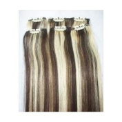 50cm Streaks Clip in Hi or Lo Lights 100% Remy Human Hair Extensions #2 Chocolate Brown #613 Bleach Blonde