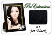 25cm Inch #1 Jet Black Pro Extensions Human Hair Extensions