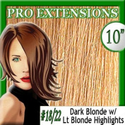 25cm Inch #18/22 Dark Blonde w/ Light Blonde Highlights Pro Extensions Premier REMI Human Hair Extensions