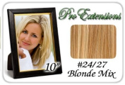 25cm Inch #24/27 Light Blonde w/ Dark Golden Blonde Highlights Pro Extensions Human Hair Extensions