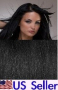 Full Head 41cm 100% REMY Human Hair Extensions 7Pcs Clip in #1 Jet Black