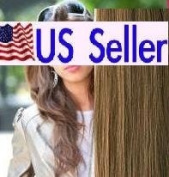 Full Head 41cm 100% REMY Human Hair Extensions 7Pcs Clip in #10 Light Brown