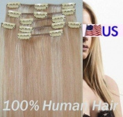 Full Head 41cm 100% REMY Human Hair Extensions 7Pcs Clip in #27/613 Mixed Blonde