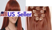 Full Head 41cm 100% REMY Human Hair Extensions 7Pcs Clip in #30 Medium Auburn