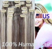 Full Head 41cm 100% REMY Human Hair Extensions 7Pcs Clip in #4/613 Brown & Blonde