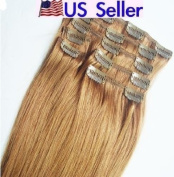 Full Head 41cm 100% REMY Human Hair Extensions 7Pcs Clip in #8 Ash Brown