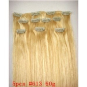 5 Pieces 50cm Bleach Blonde #613 Clip on in 100% Human Hair Extensions 60 Grammes