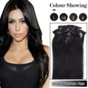 60cm Straight Clip in Remy Human Hair Extensions 100g 7pc #1 Jet Black