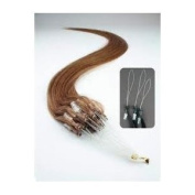 100 Strands 46cm 50 Grammes Micro Bead Easy Loop Ring Remy Hair Extensions #6 Ash Brown