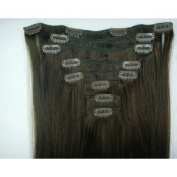 8 Pieces 48cm x 50cm Chocolate Brown #2 Clip on in 100% Human Hair Extensions 100 Grammes
