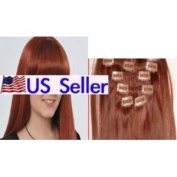 Full Head 60cm 100% REMY Human Hair Extensions 7Pcs Clip in #30 Medium Auburn