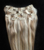 Full Head 60cm 100% REMY Human Hair Extensions 7Pcs Clip in #8/613 Light Brown Blonde Mix