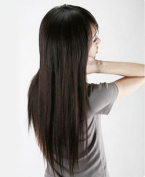 Silver J Clip in hair extension for full head 46cm , 100% human hair black