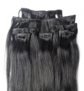 Full Head 60cm 100% REMY Human Hair Extensions 7Pcs Clip in #1B Off Black