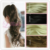50cm Long Mix Blonde/brown Big Clip on Ponytail Hairpiece Extension Wavy Pj18