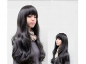 New Fashion Stylish Lady Long Black Cosplay Girl Women's Full Wavy Wigs