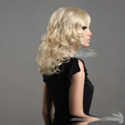 Sogood Sexy Gold Long Blonde Curly Wig European and American Style Synthetic Wigs for Party Dinner