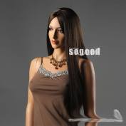 Super Long Mid-split the Bangs Straight Hair Length Long Dark Brown Wigs for Modern Office Model Ladies Wigs Human Hair for Sexy Women