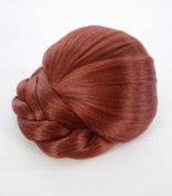 Henna Red Braided Clip In Hair Bun | Red Clip On Glamorous Hairpiece