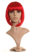 Bright red bob style wig - Fire cherry red shade - Neat cut fringe - Premium quality synthetic hair from Wonderland Wigs