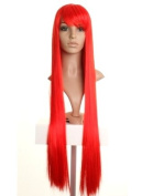 Extra Long Bright Red Straight Wig - Perfect Cosplay/Anime/Halloween Wig - Premium Quality Synthetic Hair