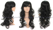 Long black curly wavy wig/wigs with side sweep fringe. !