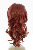Henna Red Wavy Half Wig Extra Volume TiHaira Hairpiece | Backcombe volume style clip in half wig