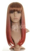 Auburn in to Dark Red Dip Dye Ladies Wig - Premium Quality Synthetic Hair - - Unique dip dye effect