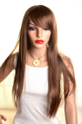 SureWells Nice wigs Long Straight Light Brown Wigs Oblique Bands Wigs Party Wigs