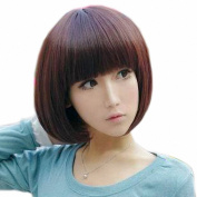 Taobaopit New Natural Short Straight Wigs Flat Bangs Wigs-Brown-Ladies