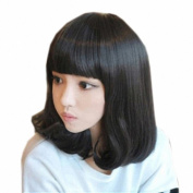 Taobaopit Special Natural Medium Length Curly Wigs Flat Bangs Wigs-Black-Ladies