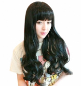 Taobaopit Fashion Natural Long Curly Wigs Flat Bangs Wigs-Black-Ladies