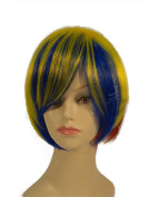 """NEW fashion HOT sexy Short mixed yellow blue Straight with slight wavy Full wigs Hair wigs 14"""" 35CM"""