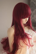 Dark Red Heat Friendly Long Curly Wave Princess Cosplay Party Hair Wig 28'' 70cm