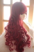 Dark Red Heat Friendly Long Curly Wave Princess Cosplay Party Hair Wig 31'' 80cm