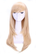 L-email 55cm Long Straight Blonde Smooth Cosplay Wig Cw143