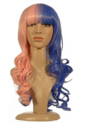 NEW fashion HOT sexy Long pink blue mixed colour Curly Anime cosplay wigs party Masquerade girls 60CM