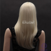 Sexy Long Golden Straight Wig Neat Bangs Wavy Wigs Lace Wigs Hair Wigs Women Wigs