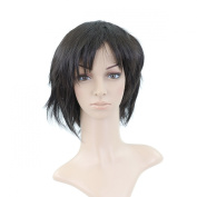 Black Short Length Anime Cosplay Costume Wig with Parted Bangs