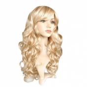 L-email 50cm Long Mix Light Blonde and Gold Women Wavy Fashion Wig Sy19