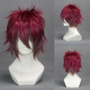 30cm Layered Wine Red Brown Cosplay Wig -- Ayato Sakama