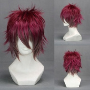 30cm Layered Wine Red Brown Cosplay Wig -- Ayato Sakama