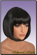 Hollywood_Hair4u - #1B Jet Black Wig with Bangs Kanekalon Heat Resistant Synthetic Fibre Skin Top *NEW*