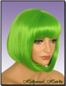 Hollywood_Hair4u - Green Bob Wig with Bangs Kanekalon Heat Resistant Synthetic Fibre Skin Top *NEW*